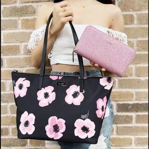 Kate Spade Tote Black Pink Floral + Wallet Glitter